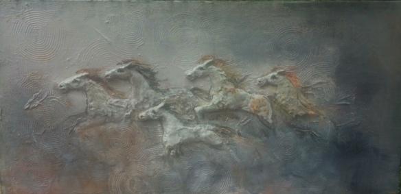 horses running bas relief - felder